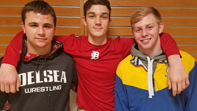 Delsea junior 160-pounder Mason Maxwell, center, is the uncle of teammate and 195-pounder Tommy Maxwell, left, and Buena's 160-pound senior Jake Maxwell, right.