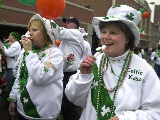 During the St. Patrick's Day Parade in Binghamton on