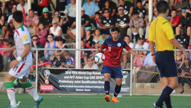 Guam Matao's Dylan Naputi controls the ball in a 2018 FIFA World Cup Russia and AFC Asian Cup UAE 2019 Joint Preliminary Qualification Round 2 match against I.R. Iran at the Guam Football Association National Training Center on Nov. 17, 2015.