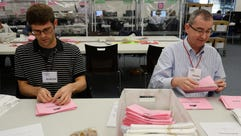 Andrew Wilmot, left, and James Giles pull ballots from