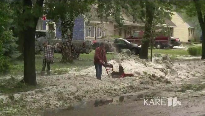 Coon Rapids, Minn., was hit with a huge amount of hail on June 11, 2017, causing the city to bring out the snowplows.