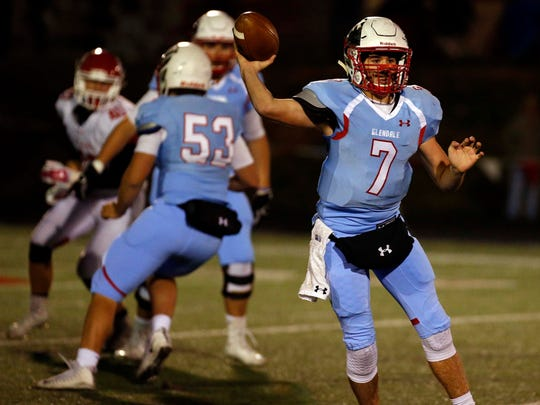 Glendale's Alex Huston finds space to throw against Ozark in Springfield on October 27, 2017.
