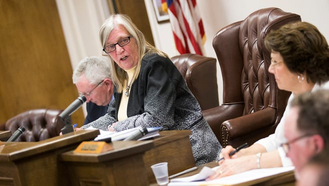 Town of Union Supervisor Rose Sotak speaks during a town board meeting, where resolutions were passed that will explore her dismissal for allegedly verbally abusing town employees.