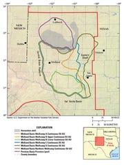 US Geological Survey map of Wolfcamp Shale deposit