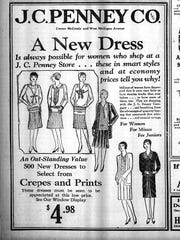 A JCPenney ad from a March 29, 1929 edition of the