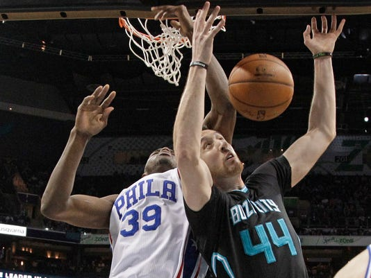 Charlotte Hornets' Frank Kaminsky (44) and Philadelphia 76ers' Jerami Grant (39) vie for a rebound during the first half of an NBA basketball game in Charlotte, N.C., Friday, April 1, 2016. (AP Photo/Chuck Burton)