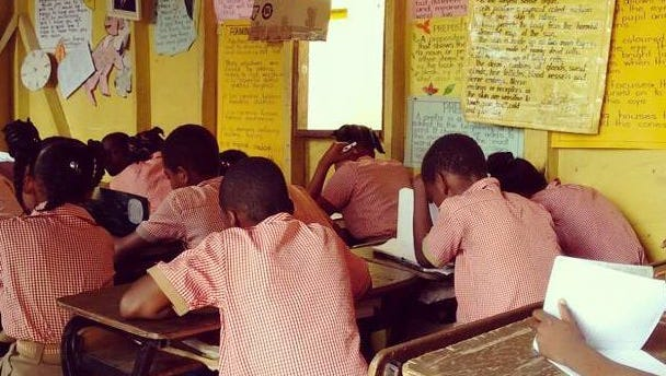 A classroom at a school in Mount Airy, Jamaica.