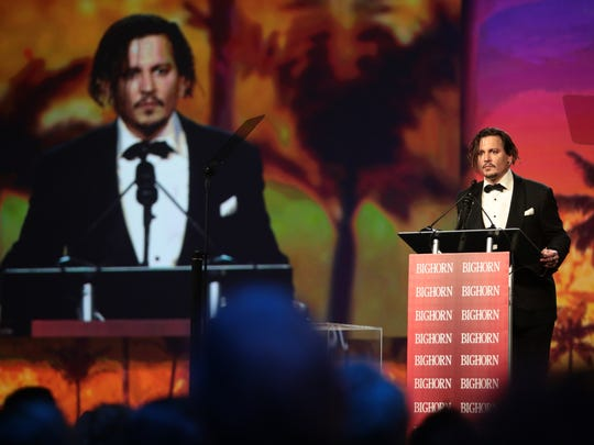 "Johnny Depp, star of ""Black Mass,"" received the ""Desert Palm Achievement Award -- Actor"" on Saturday night. After briefly leaving the podium, he returned to thank film festival Chairman Harold Matzner."