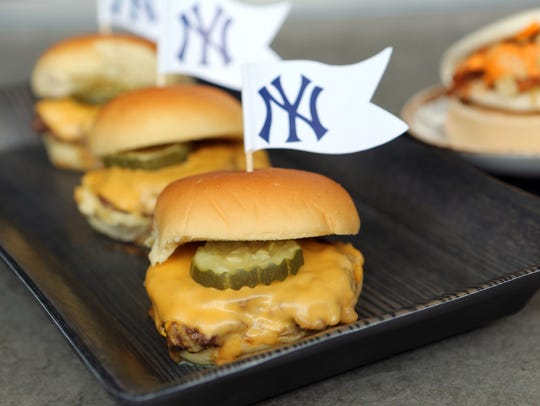 The Yankee Dingers, served at Frank's RedHot Terrace, at Yankee Stadium in the Bronx April 4, 2017. The New York Yankees unveiled stadium enhancements last year that include new social gathering spaces and a variety of ballpark food items as well as a kids clubhouse.