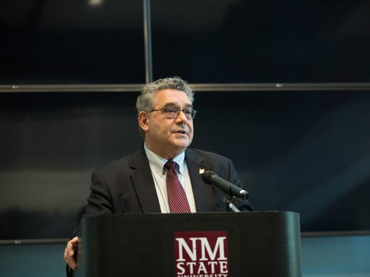 John Floros, New Mexico State University president-designate, speaks to a group of faculty and staff gathered at a meet-and-greet Tuesday, May 22, 2018 at Corbett Center on the NMSU campus.