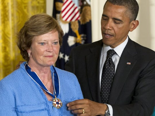 President Barack Obama awards Pat Summitt, former women's college basketball head coach, the Presidential Medal of Freedom in the East Room of the White House, Tuesday, May 29, 2012, in Washington. (AP Photo/Carolyn Kaster)