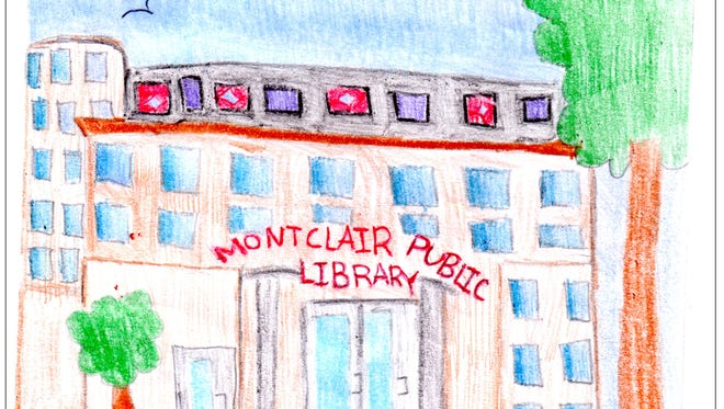 Natyl Ruiz' drawing of the Montclair Public Library,
