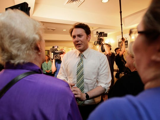 Clay Aiken speaks to supporters during an election night watch party in Holly Springs, N.C.