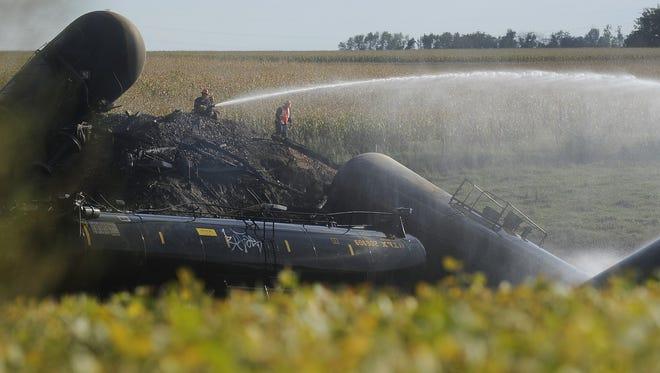 Crews respond to BNSF train derailment near Scotland, SD; Saturday, Sept. 19, 2015.