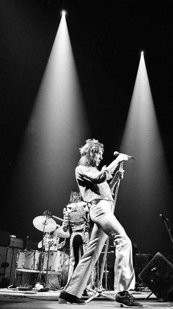 Rod Stewart in concert at Madison Square Garden in New York City, Nov. 26, 1971.