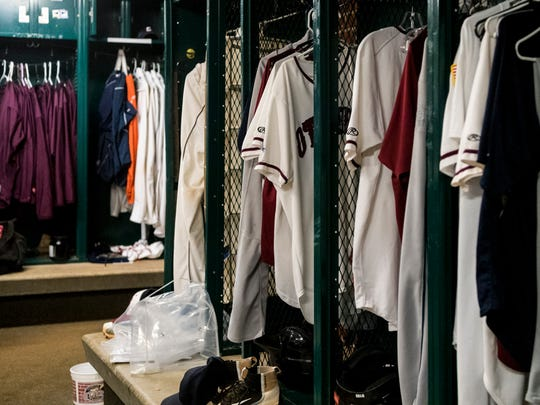 In this photo from November 2017, the Evansville Otters locker room, located inside historic Bosse Field, is filled with baseball uniforms. The professional baseball team has been using Bosse Field as their home base since their establishment in 1995.