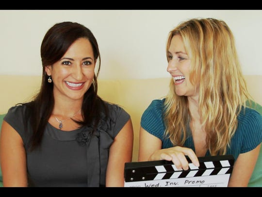 """Filmmaker Rainy Kerwin, at right, wrote, directed, and stars in her film, """"The Wedding Invitation,"""" which screen Sunday, Nov. 13. Here she is with her co-star and producing partner, Narmar Hanna (at left)."""
