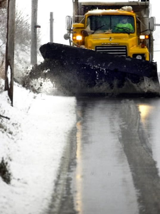 Storms  like Saturday's, which saw light snowfall of 1 to 3 inches across the county, are called 'spreading storms' by PennDOT because crews respond mainly with pre-treatment techniques.  <i> The York Daily Record/Sunday News -- File </i>