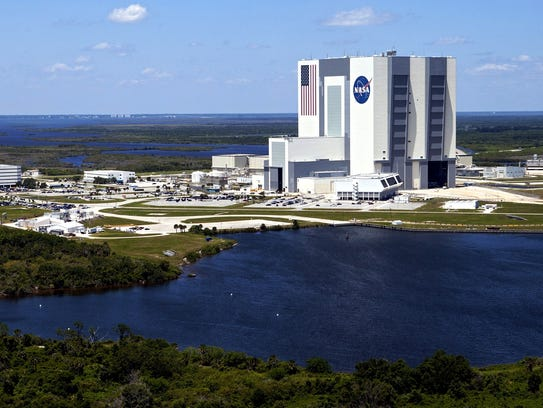 An aerial view of the Vehicle Assembly Building, or