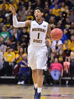 Murray State's Cameron Payne calls for a play against UTEP in the first half of a NCAA basketball NIT game at the CFSB Center against UTEP in Murray, Ky., Tuesday, March 17, 2014. (AP Photo/Stephen Lance Dennee)