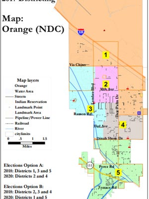 This map, created by National Demographics Corporation, shows one possible layout for future electoral districts in Cathedral City.