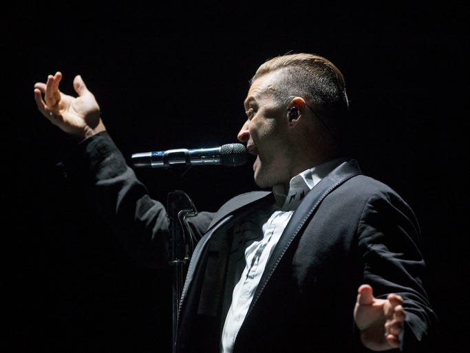 Justin Timberlake performs for fans during The 20/20 Experience World Tour stop at Jobing.com Arena in Glendale on August 9, 2014.