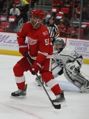 Red Wings forward Frans Nielsen waits for a shot against