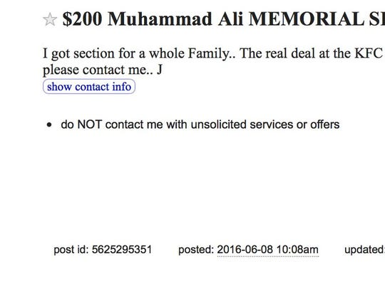 A post on Craigslist advertises tickets to Friday's Muhammad Ali memorial service at the KFC Yum! Center.