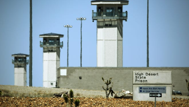 Guard towers are seen at High Desert State Prison in Indian Springs, Nevada.