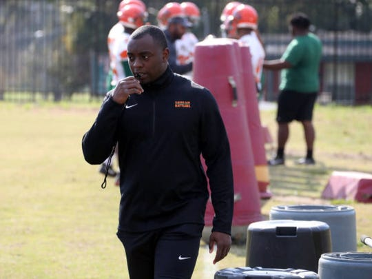 FAMU cornerbacks coach Kenneth Gilstrap II observes