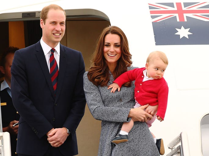 Will and Kate, holding squirmy George, bid farewell to Australia after wrapping up their Down Under tour on Day 19, April 25, following a final engagement commemorating Australian and New Zealand war dead.