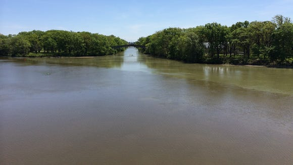 The confluence of the Erie Canal and the Genesee River, looking east down the canal.
