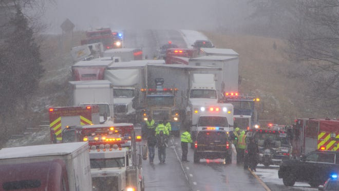 A multi-vehicle accident on westbound I-96 just east of Wallace Road caused the shutdown of the freeway in both directions.