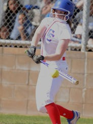 Cooper's Bridget Cloud hits a single in the sixth inning,