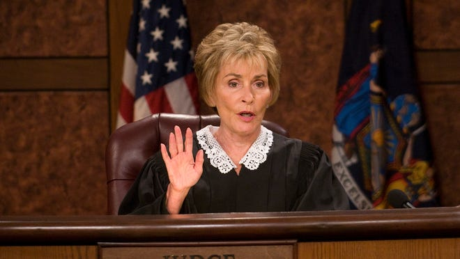 """7/7/10 3:07:10 PM --- JUDGE JUDY --- Los Angeles, CA, U.S.A: Judge Judy Sheindlin, """"Judge Judy"""" a long-running daytime TV fixture. Her popular courtroom drama is experiencing a surge in ratings. Photographed on the set of the show which is taped at Sunset Bronson Studios in Los Angeles. Photo by Robert Hanashiro, USA TODAY Staff"""