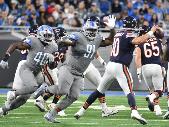 A'Shawn Robinson (91) has been a valuable piece on Detroit's defensive line since his rookie season.