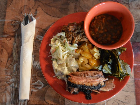 Barbecue food platter from Fat Daddy's in Georgetown.
