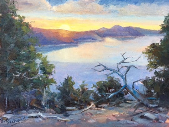 """""""A Possum Kingdom Lake Sunset"""" by Graham artist Beth Prichard. Prichard will show her paintings and drawings beginning March 17 at the West End Studio at the Kemp Center for the Arts. The show titled """"Just Art Plain and Simple"""" runs through May 13. Prichard will also branch out with newer Western-themed works during Cowboy True in April."""