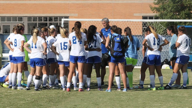 The Angelo State University women's soccer team is pictured in a file photo.