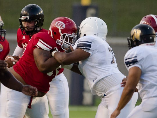 Lee's Thornton Rudolph (75) blocks Huffman's Joshua Nickerson during the AHSAA All Star game on Thursday, July 20, 2017, at the Cramton Bowl in Montgomery, Ala.