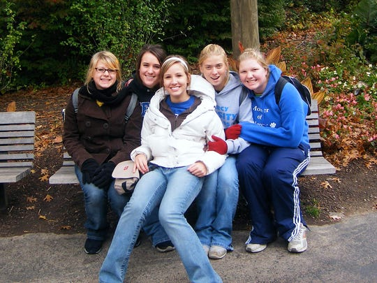From left to right, Ashley Storch, Jen Schmidt, Kelly Knapke, Emily Russell and Steph Powers during Mother of Mercy High school's 2007 trip to the zoo.