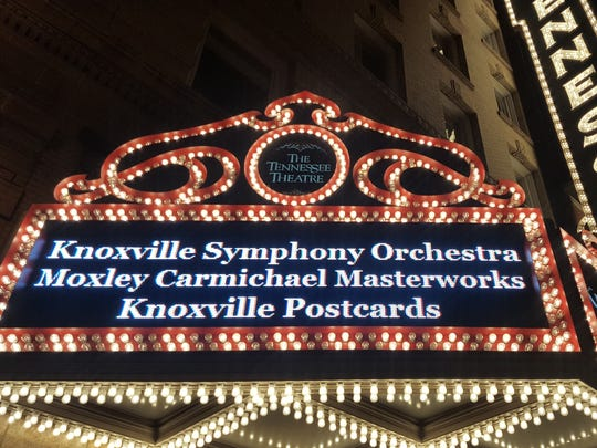 """The Tennessee Theatre sign displays the Knoxville Symphony Orchestra's 2017 """"Knoxville Postcards"""" program. The program was performed on September 21 and September 22 and will be performed at the John F. Kennedy Center for the 2020 SHIFT Festival."""