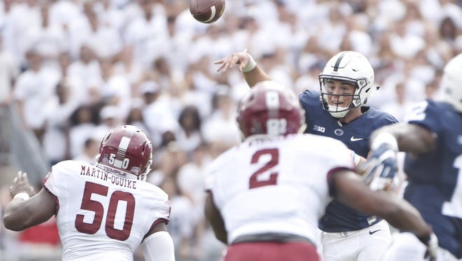 Penn State quarterback Trace McSorley throws a pass during the first half of Saturday's 34-27 win against Temple.