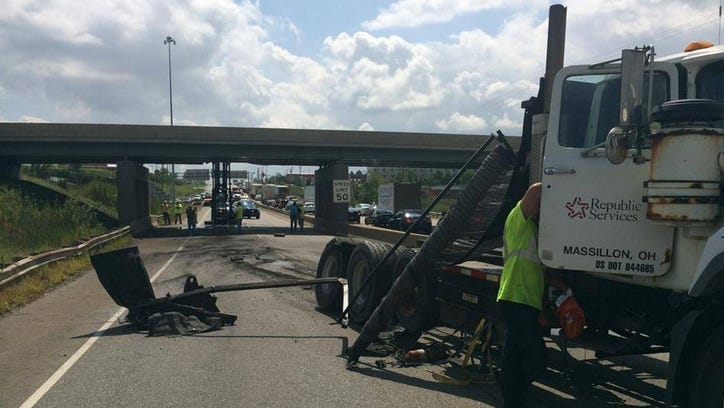 Crash at I-480 WB causes structural damage to the Turnpike Bridge.