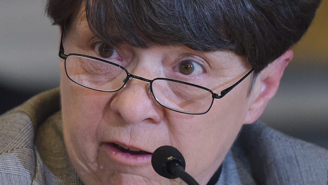 File photo taken in 2014 shows Mary Jo White, chair of the Securities and Exchange Commission, during a Treasury Department meeting of the Financial Stability Oversight Council.