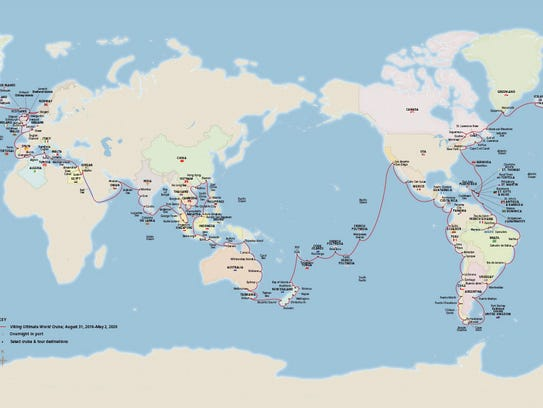 Viking's 930-passenger Viking Sun will sail a 245-day