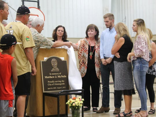 Former Assistant City Manager Matt McNeile was honored with a plaque at the Family Recreation Center on Friday afternoon. McNeile worked for the city of Alamogordo for over 15 years before his sudden death in August 2015.