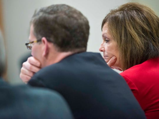Prosecutor Lisa Warren listens to a Vermont State Police tape of Allen Prue describing how he murdered Melissa Jenkins in 2012 during his trial in Vermont Superior Court in Burlington on Friday.
