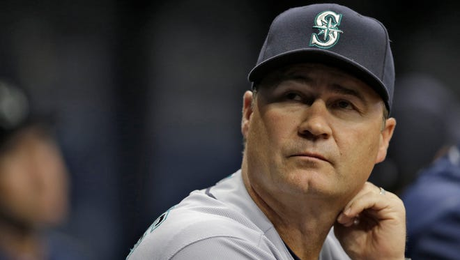 Seattle Mariners manager Scott Servais during the first inning of a baseball game against the Tampa Bay Rays Tuesday, June 14, 2016, in St. Petersburg, Fla.  (AP Photo/Chris O'Meara)
