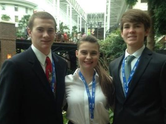 JT Brown Mattie Kincannon and Austin Clark 2014 FBLA nationals.JPG